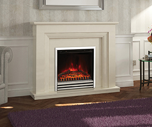 "Amorina Electric fireplace Suite Here is an instant classic, which means it will comfortably find a place in your living room. This lovely 50"" electric fireplace suite in Almond Stone effect features an LED electric fire with a stylish 3-bar fret."
