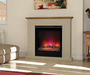 Arletta Electric Fireplace Suite The delectable Arletta captures the bold geometry of the Art Deco era in its angular marble surround. Shown in Stone finish surround with optional Country Oak top and LED Electric in Black (Included with surround). Also available in Ivory.