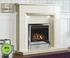 "Chollerton A stylish glass fronted, high efficiency fire, offering an impressive 84% efficiency. With its widescreen engine, the Chollerton is ideal for larger surrounds of 50"" and above; it is perfectly suited to the Elgin & Hall 50"" Roesia with complementing square edges and provides a panoramic vision of dancing flames. Shown in Chrome with Anthracite profiled edge and Roesia surround in Pearl Stone micro."