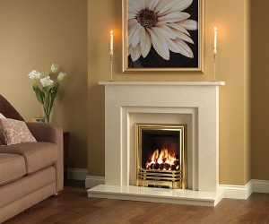 "Clara: Simple stepped design, 46"" marble surround shown featuring the Savannah gas fire in Brass finish."