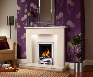 "ISABELLE 45"" micro marble surround available with lights. Featuring the Mayfair electric fire in Chrome finish."