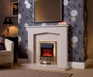 "The MELROSE 45"" micro marble surround available with lights. Featuring the Camberley electric fire in Brass finish."
