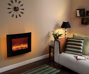 Quattro 2KW wall mounted compact electric fire for smaller living spaces complete with curved glass black fascia. Realistic log bed, distinctive flame pattern and ambient back lighting.