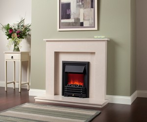 "The ROMA 45"" micro marble surround, available with lights. Featuring the Savannah electric fire in Black finish."