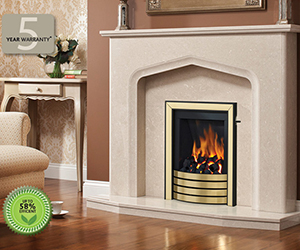Catalina Slimline radiant Gas fire insert ideal for houses with a pre-cast flue. You'll be delighted how the embers shimmer into life at your command. Just as quickly, the rising flames send out a comforting level of warmth. Shown in Black/Brass finish with Devotion trim model and Aurelia surround n PearlStone micro marble.