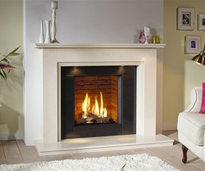 DRU Global 55XT CF conventional flue gas fire with classic log fire display. The extra high 535 mm glass front of this gas fire makes it perfect for installation with the classic 'Jessica' customised fire surround.