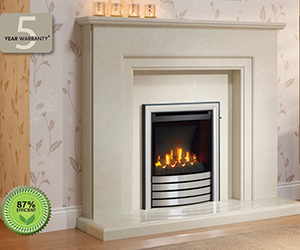 Indigo - Mid depth gas fire insert Offers a 87% efficiency rating with consequent lower running costs. That's the result of the glass panel concentrating the radiant heat into the room without sucking in cooler air. Suitable for both traditional chimneys and prefabricated flues. Shown with a Devotion trim and Evita surround in Manila micro marble.