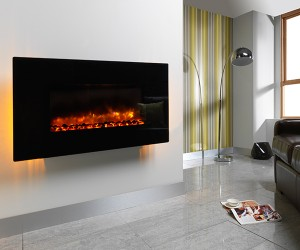 Orlando 2KW wall mounted electric fire complete with flat black glass fascia. Realistic coal bed and distinctive flame pattern with colour adjustable ambient back lighting.