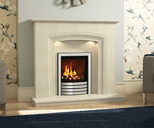 "Felicia This broad 50"" surround with soft curved arch will accommodate any style of room – from traditional to contemporary. Shown in manila micro marble with a Utopia gas fire in Devotion Black with chrome trim."