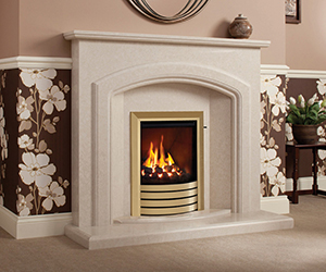 Harriet With forward standing arched brow and pillars, the pretty step up from the bullnose hearth and double contoured mantel top shown in Italica Micro Marble with a Utopia gas fire in Exclusive Brass trim. Also available in Manila, Pearl Stone & White micro marble.