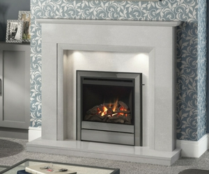 Roesia The simple geometry of this modern design is softened by the curved edging under the mantel and around the inner sides of the surround. Shown in pearl stone micro marble with Chollerton widescreen gas fire with chrome trim. Also available in Manila, Italica & White micro marble.